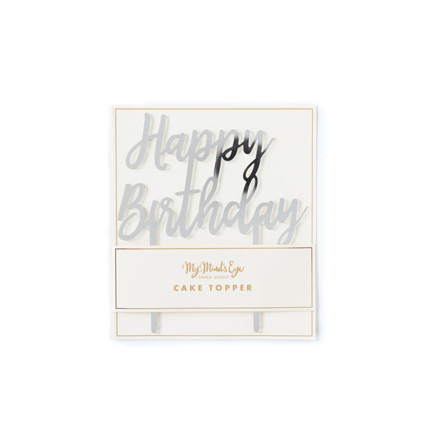 Basic Silver Happy Birthday Cake Topper