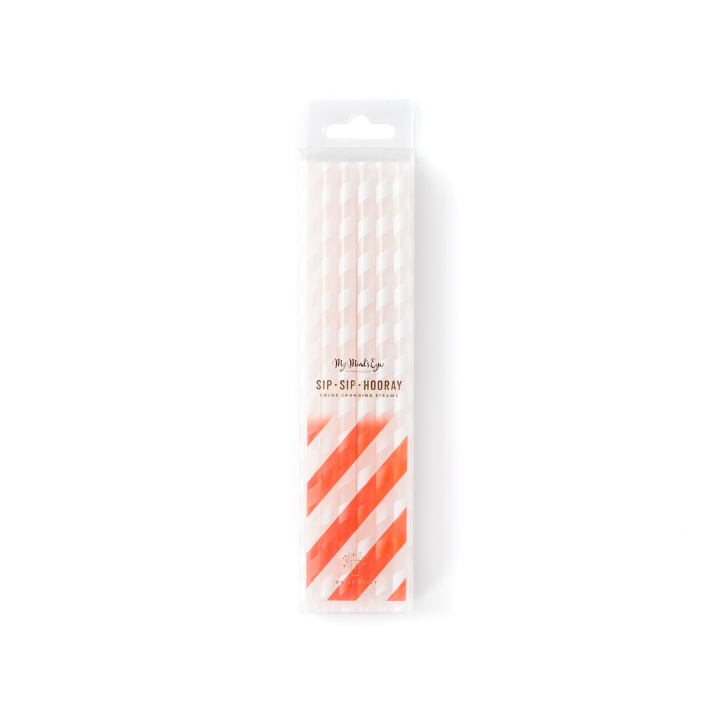 Basic Reusable Color Changing Straws - Red