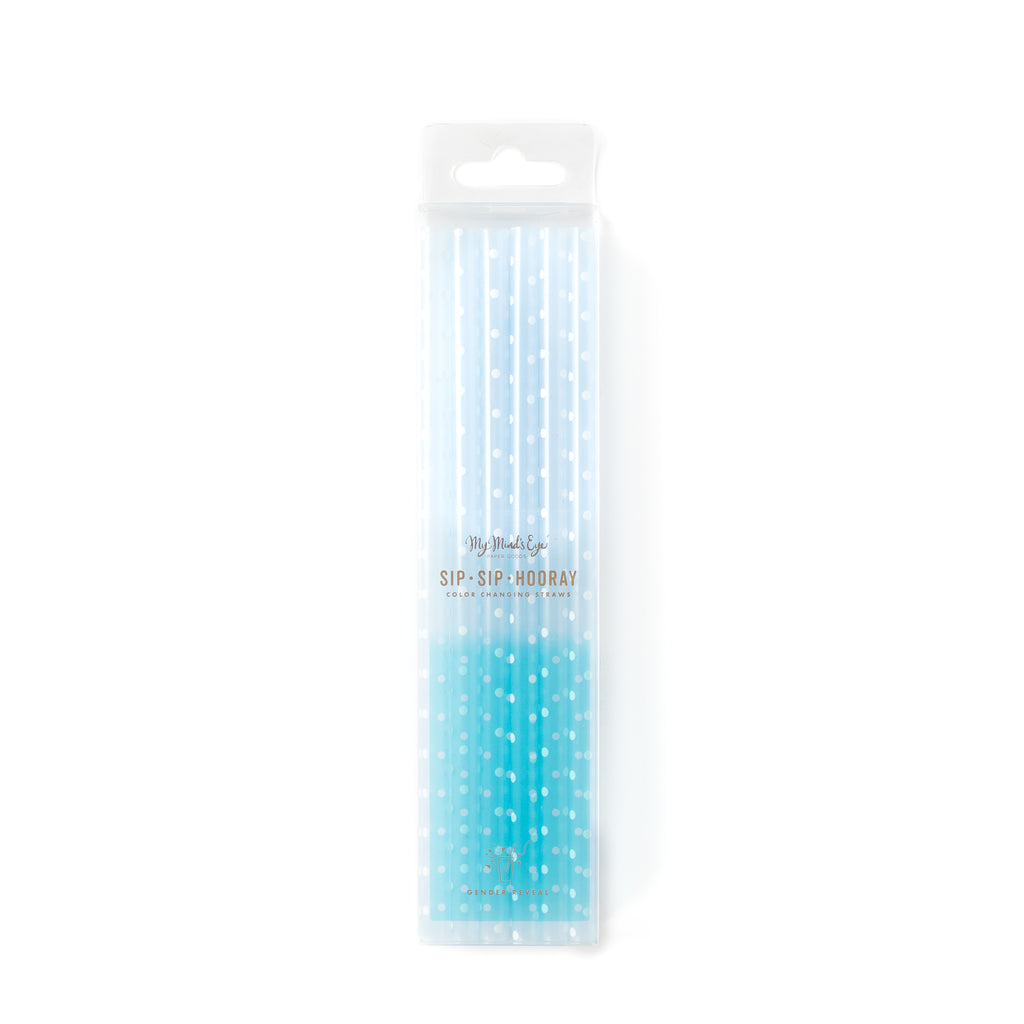 Basic Reusable Color Changing Straws - Blue