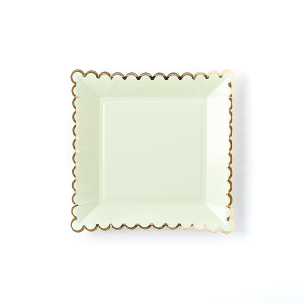 Mint Scalloped Plates