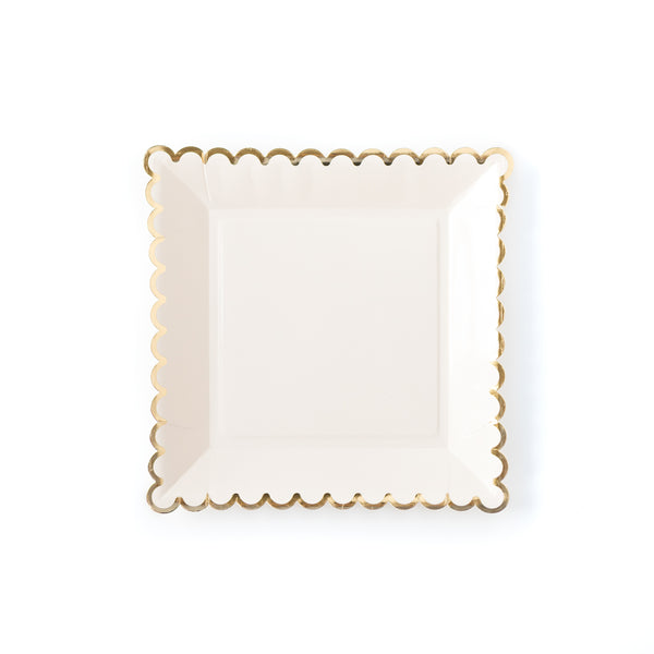 "Cream Scalloped 9"" Plates"