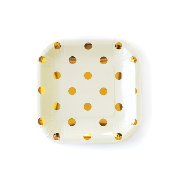 "Cream Polka Dot 7"" Plates"