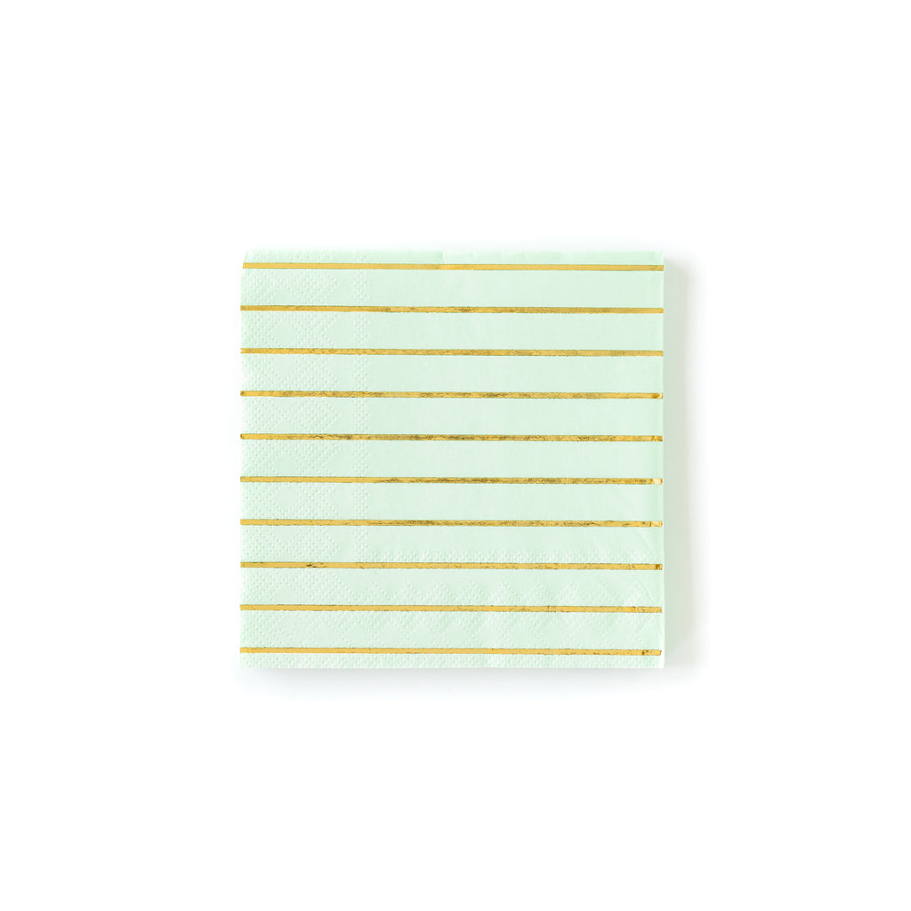 Mint Striped Cocktail Napkins