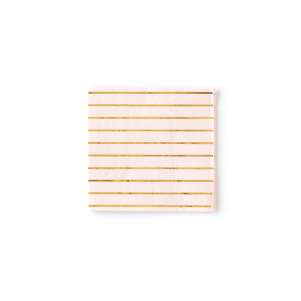 Blush Striped Cocktail Napkins