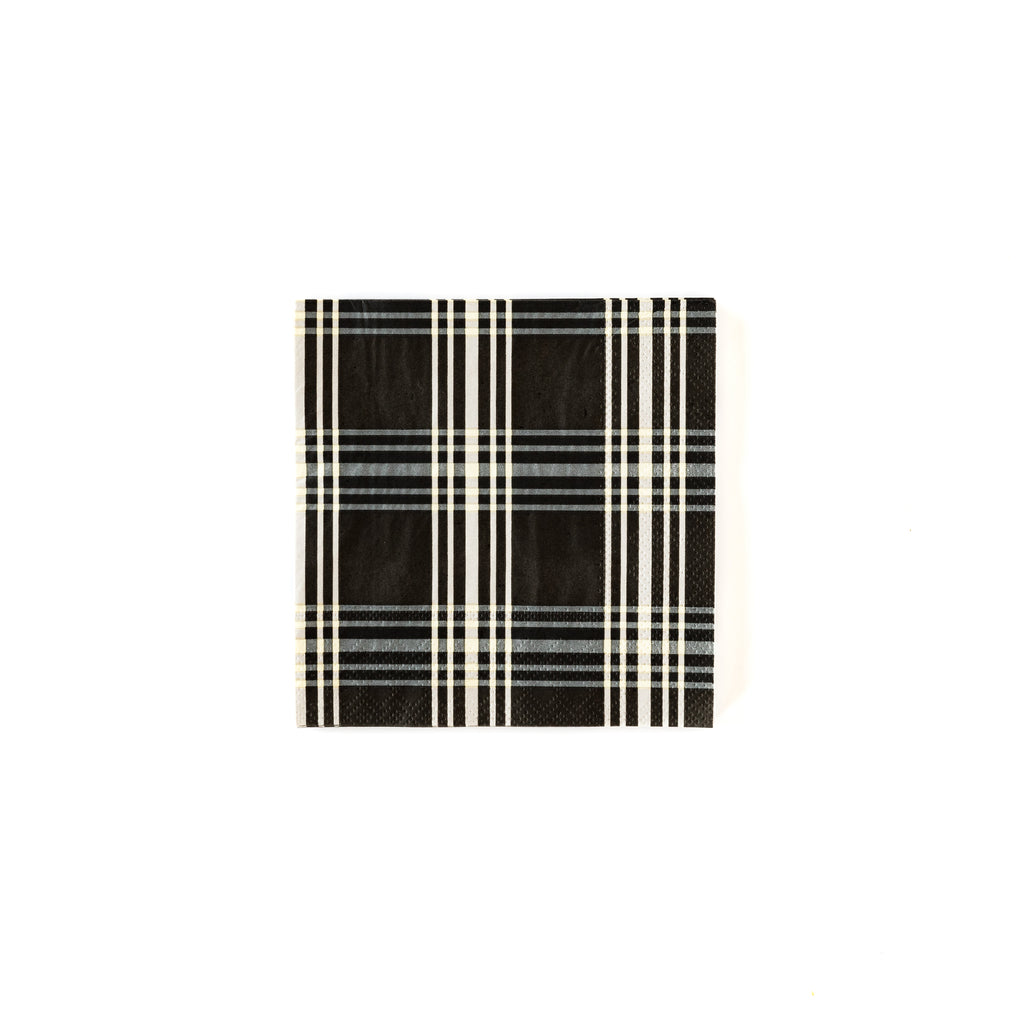Black Plaid Cocktail Napkins