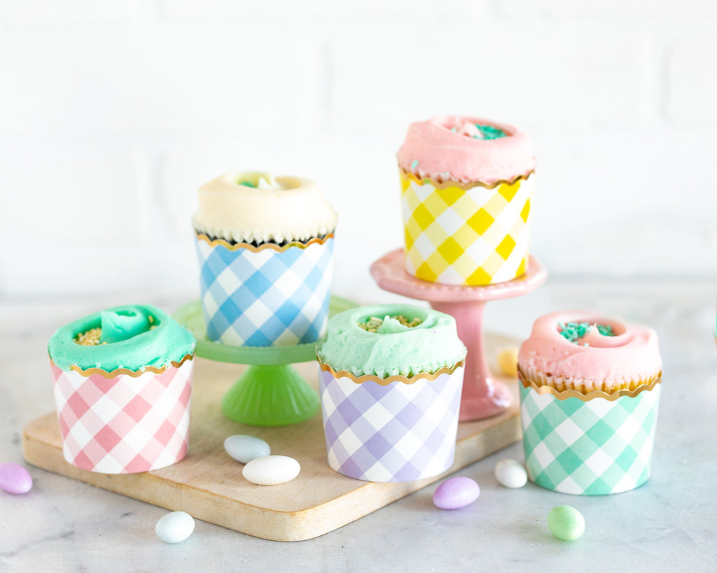 Spring Gingham Foiled Baking Cups
