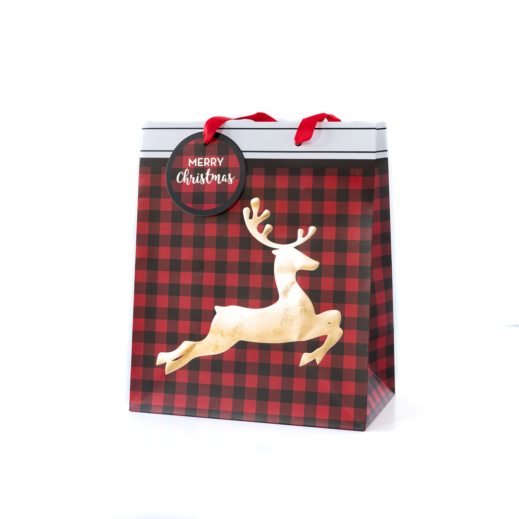 Buffalo Plaid Stag Large Gift Bag