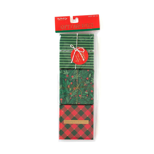 Red and Green Gift Card Boxes (Set of 3)
