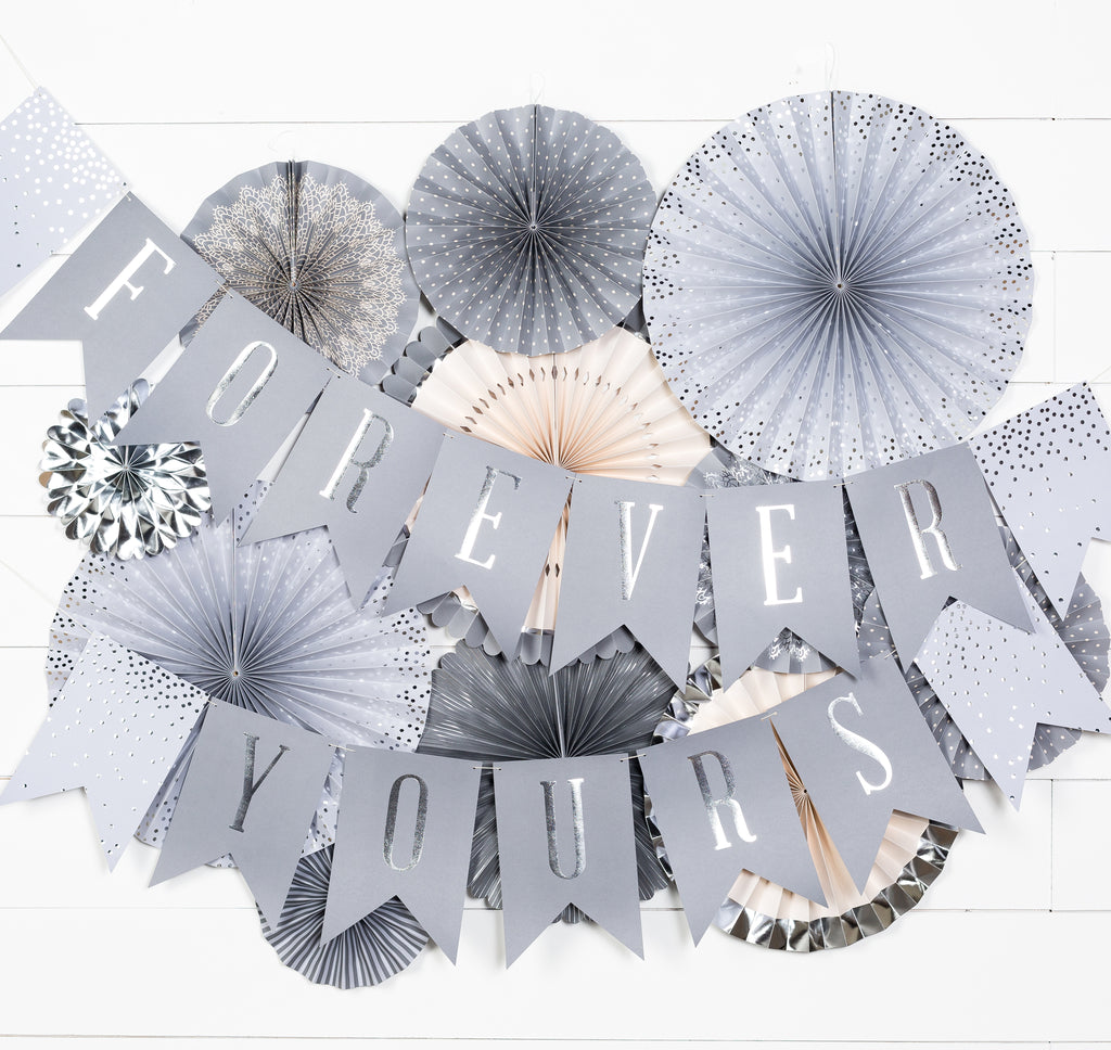 "Paper Love Grey Glam Wedding ""Forever Yours"" Word Banner"