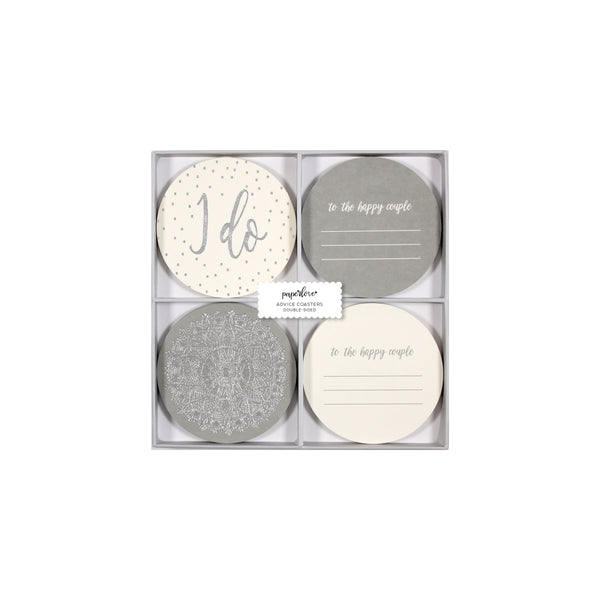 Paper Love Grey Glam Wedding Advice Coasters