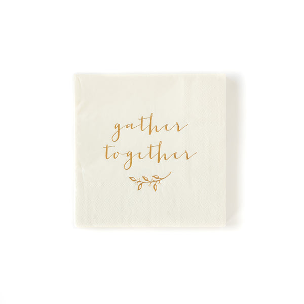 top down image of gather together gold foil 5 inch napkin