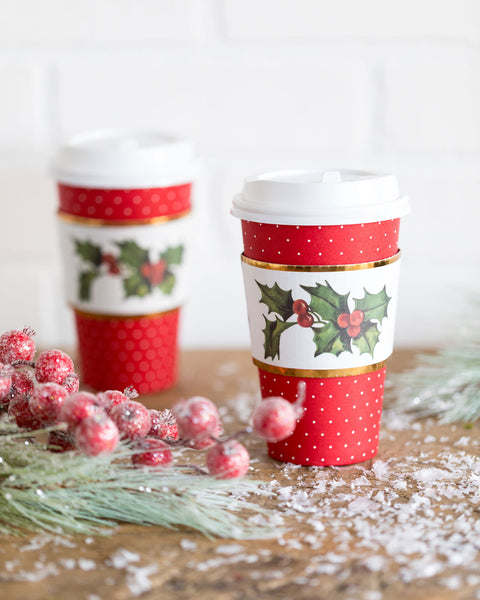 Holly & Ivy Coffee Cups 8 count
