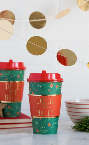Deck the Halls Coffee Cups 8 count