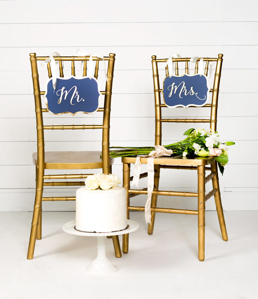 Paper Love Navy Wedding Chair Signs
