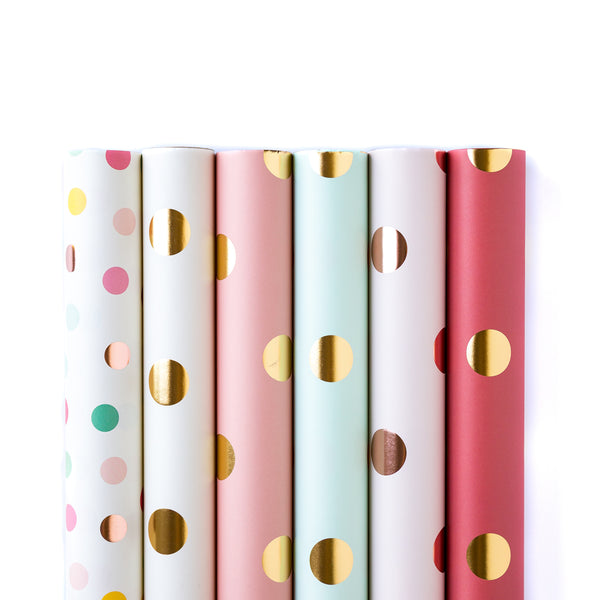 Gift wrap my minds eye paper goods polka dots wrapping paper by the sheet bundle negle Choice Image