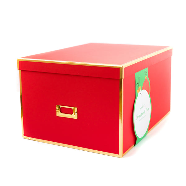 Red and Gold Christmas Ornament Storage Box