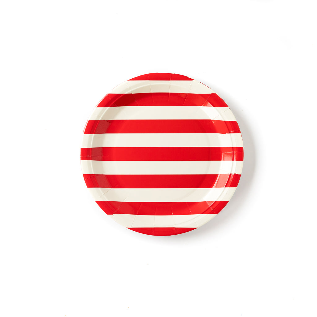 "Red & White Striped 9"" Plates"