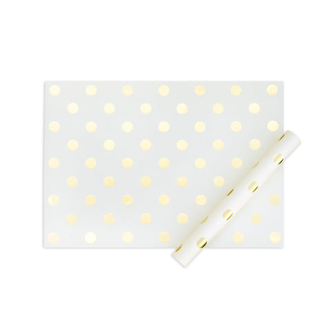 Cream/Gold Foil Dots Gift Wrap