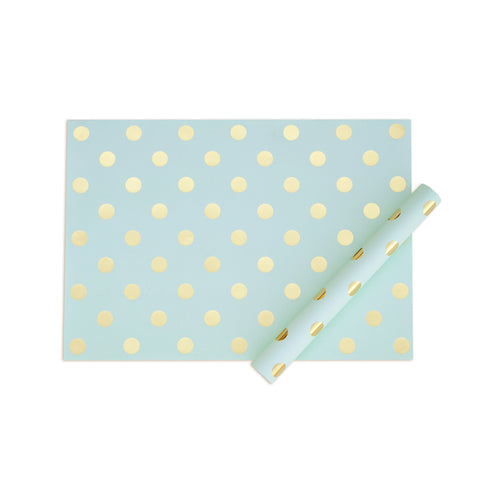 Mint/Gold Foil Dots Gift Wrap