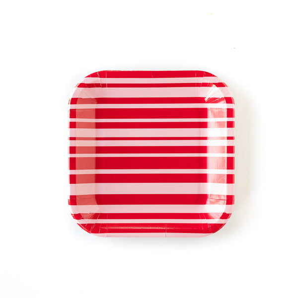 "Red & Pink Striped 9"" Plate"