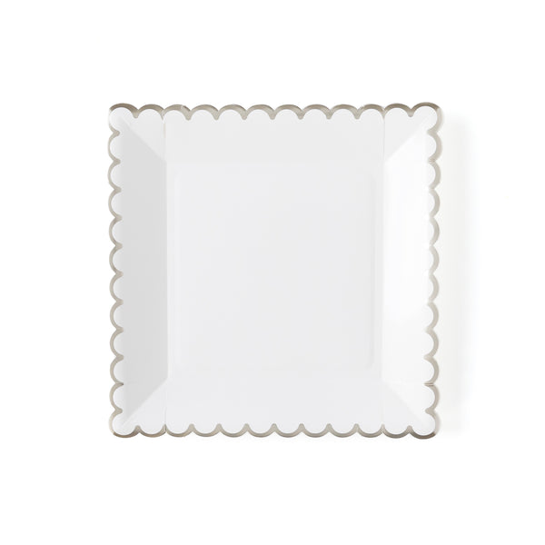 "Winter White 9"" White Scalloped Plate"