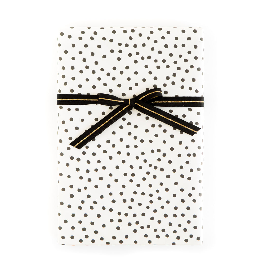 PGW309 Gift Wrap Sheets - Black and White Random Dot / Diagonal Stripe