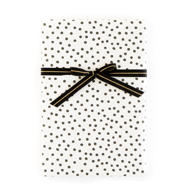 Black and White Random Dot / Diagonal Stripe Wrapping Paper Sheets