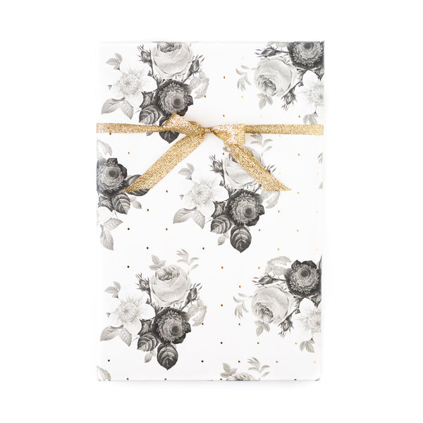 Black and White Floral with Gold Foil Dots Wrapping Paper Sheets