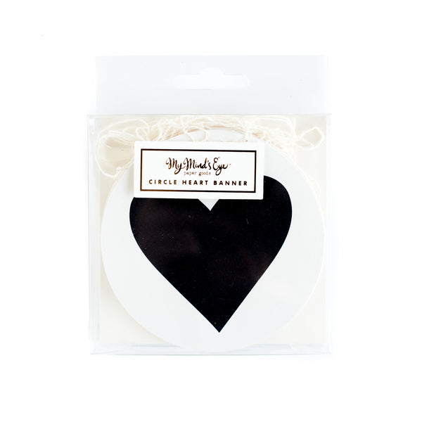 Black & White Circle Heart Banner - BWP212