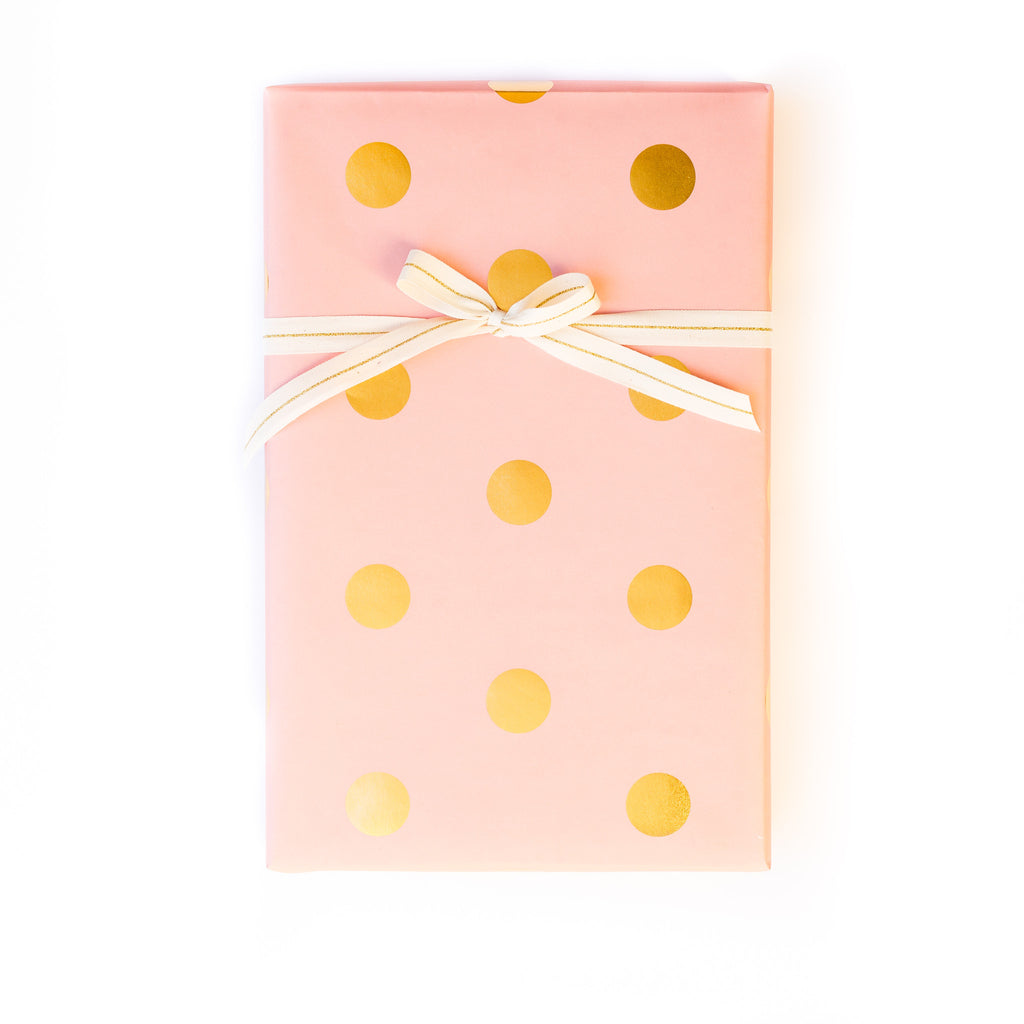 Trend Coral with Gold Foil Dots Wrapping Paper Sheets