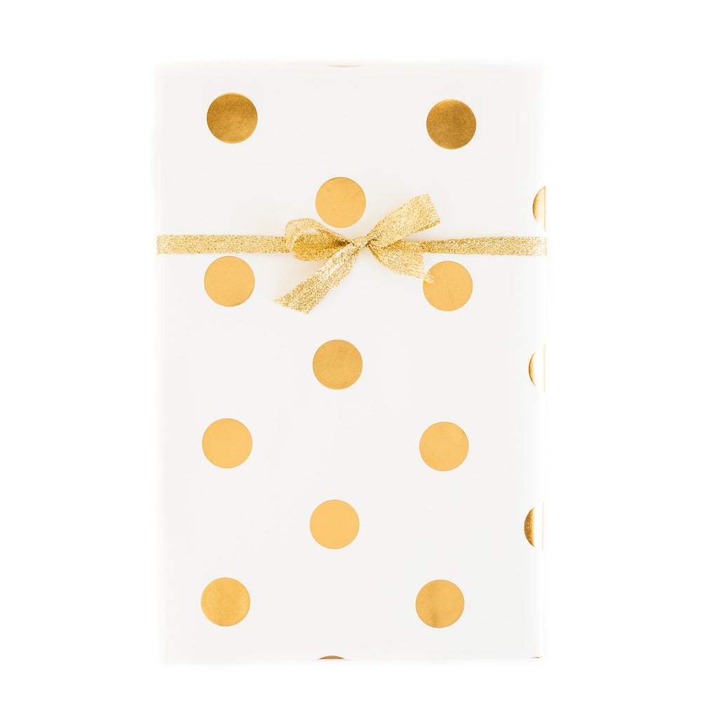 PGW303 Gift Wrap Sheets - Fancy Ivory with Gold Foil Dots