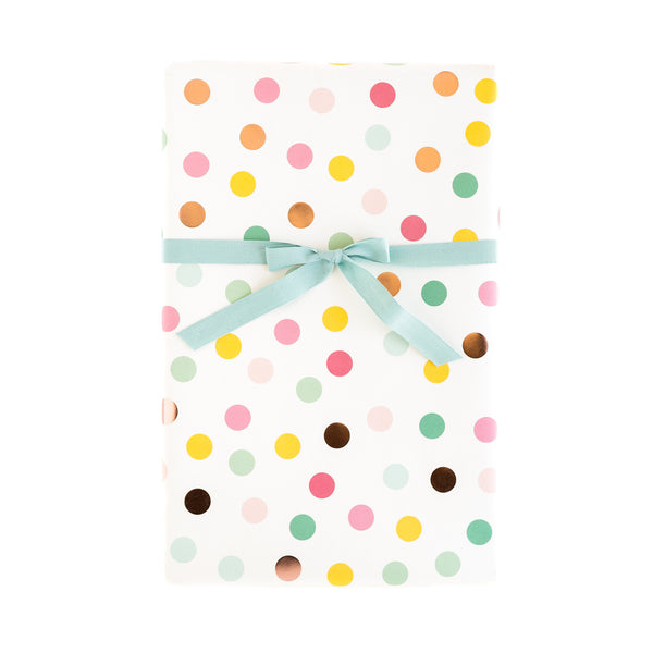 PGW305 Gift Wrap Sheets - Hooray Multi-Color & Rose Gold Foil Dots