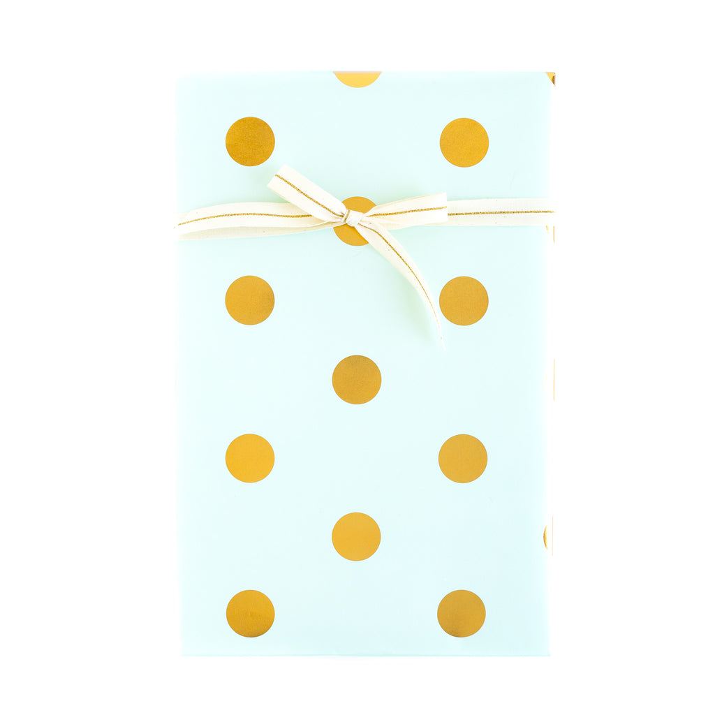 Trend Mint with Gold Foil Dots Wrapping Paper Sheets