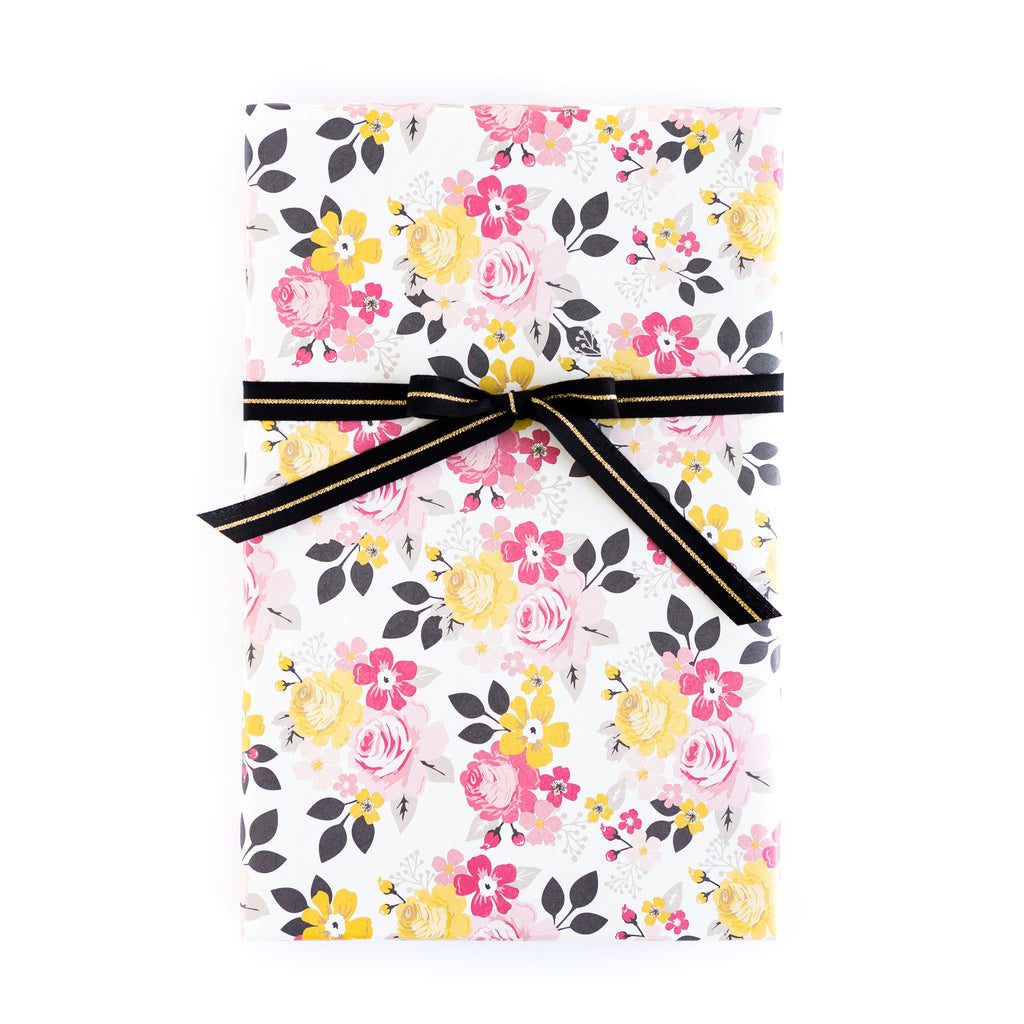 My Story Floral / Black Chevron Wrapping Paper Sheets