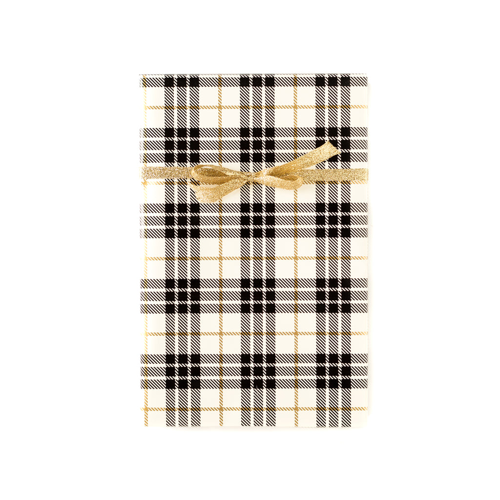 Cream/Gold Christmas Plaid Wrapping Paper