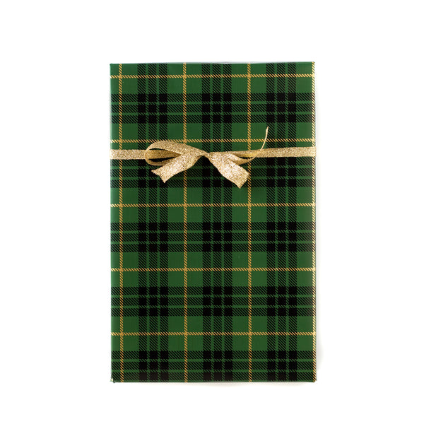 Green/Gold Christmas Plaid Wrapping Paper