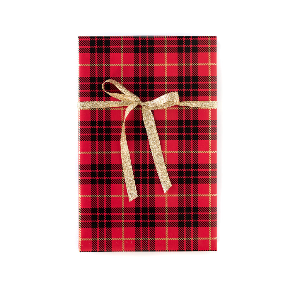 Red/Gold Christmas Plaid Wrapping Paper