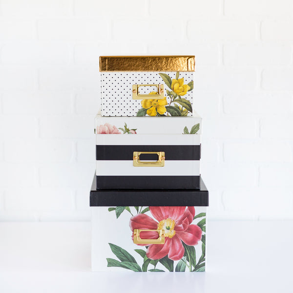 Paper Love Botanical Storage Box Set Of 3