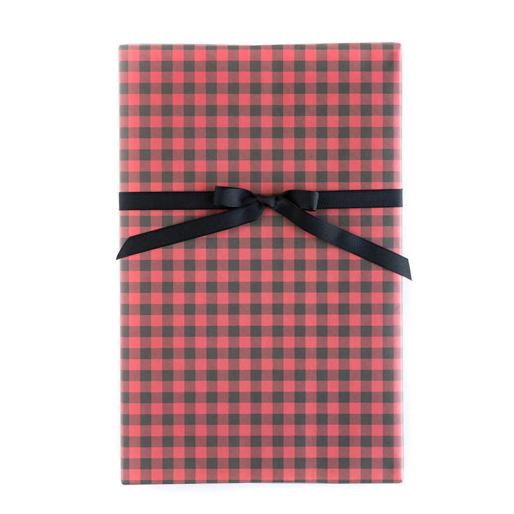 Plaid Red Check / Black Check Wrapping Paper Sheets