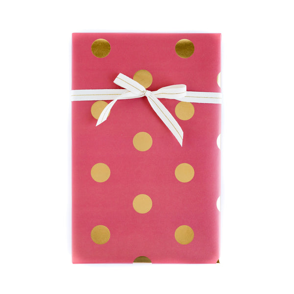 Red with Gold Foil Dots Wrapping Paper Sheets