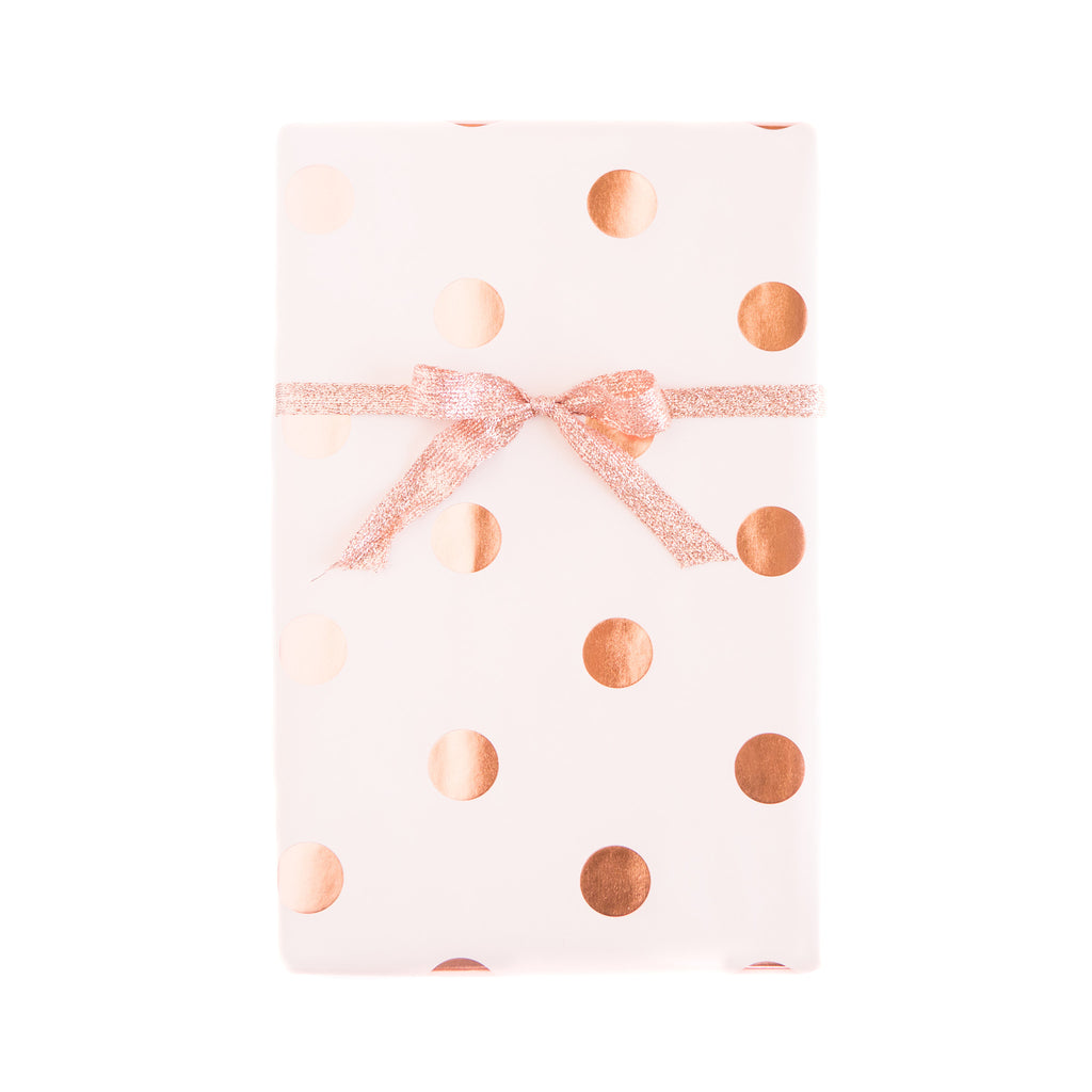 Blush with Rose Gold Foil Dots Wrapping Paper Sheets