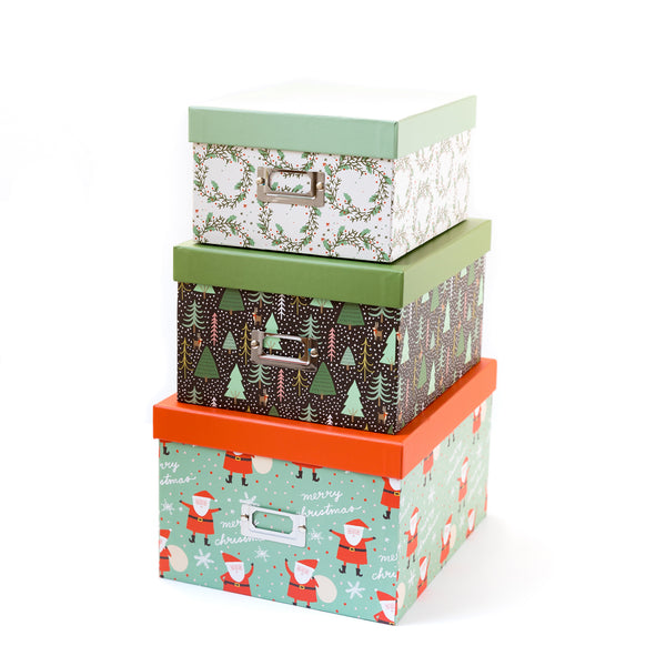 Set of 3 Christmas Storage Boxes
