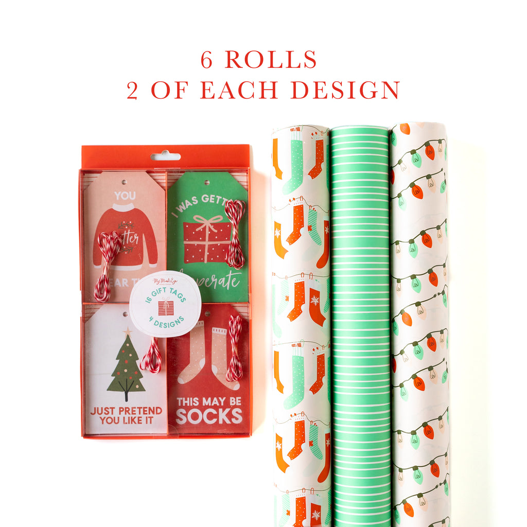 Stockings Gift Wrap Set (6 rolls) with tags