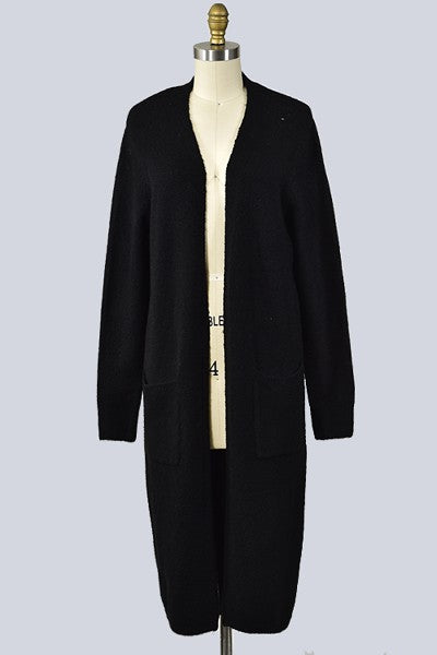 Long Sleeve Open Front Cardigan - Black
