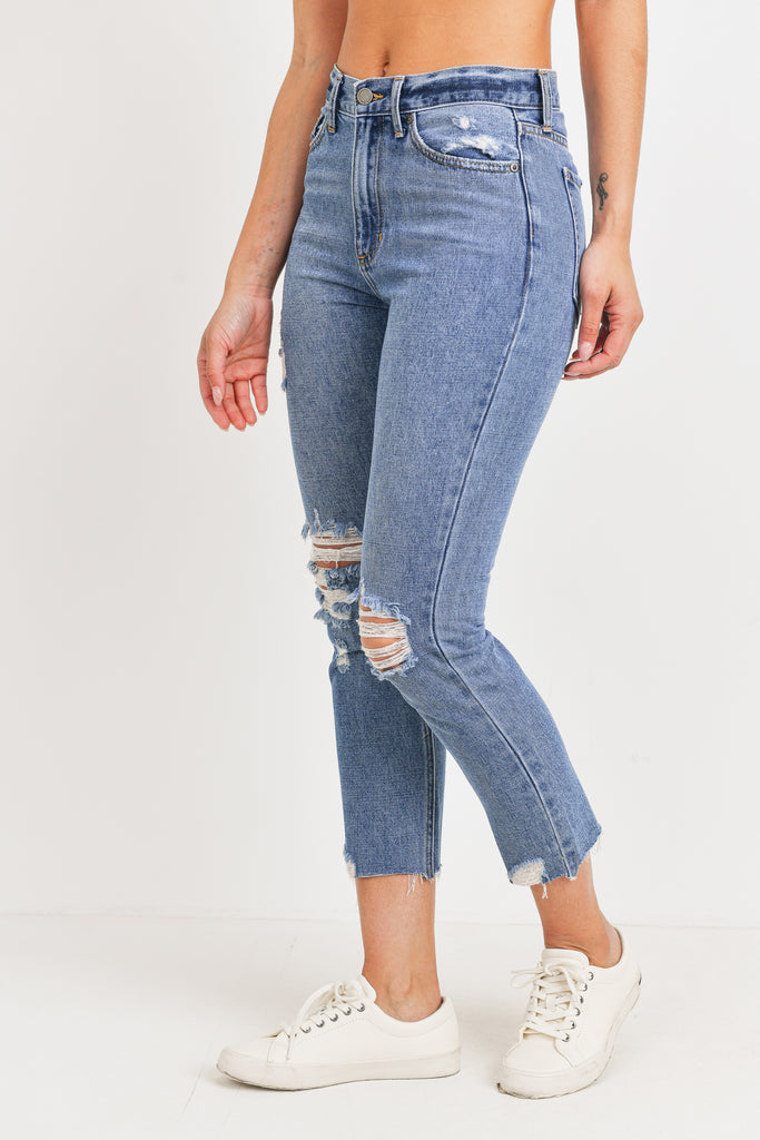 High Rise Straight Leg - Medium Blue