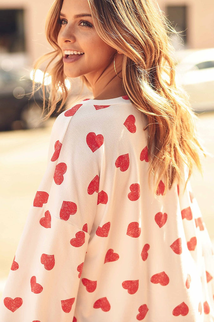 Heart Print Scoop Neck Top - White