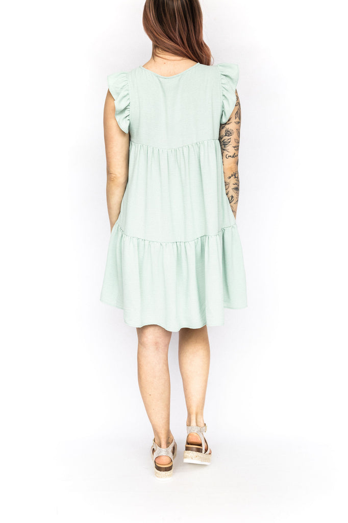 Baby Doll Dress with Ruffle - Sage