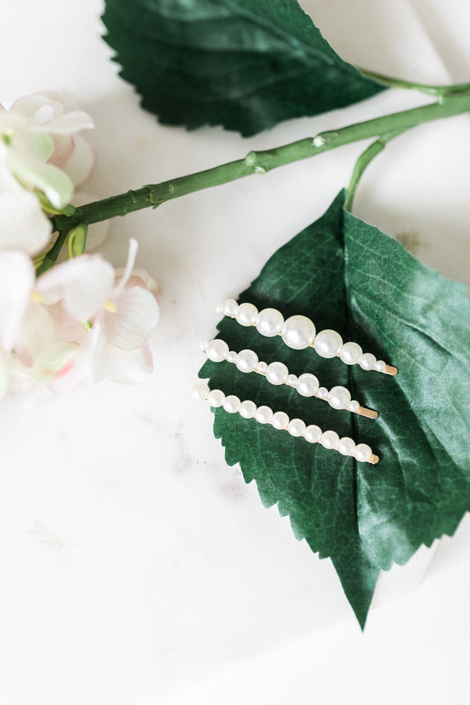 Three Piece Pearl Hair Slide Set