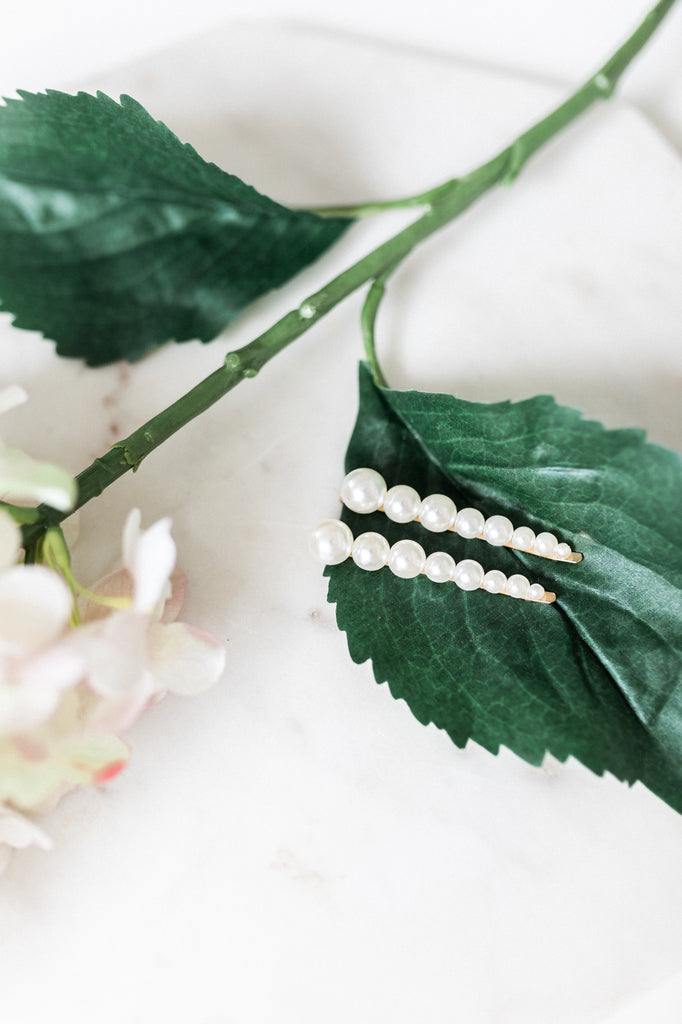Two Piece Pearl Hair Slide Set