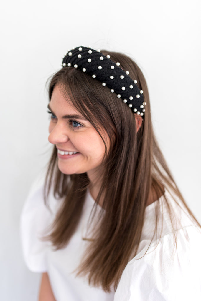 Black Platform Headband with Pearls